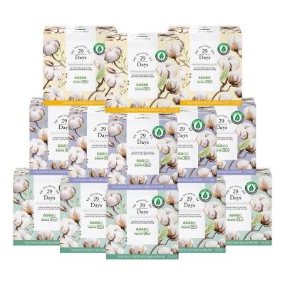 리얼코튼 유기농 생리대 중/대형5팩+오버나이트3팩