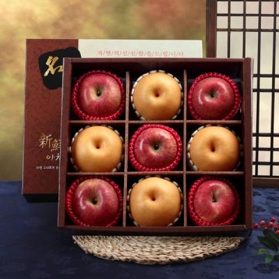 [명품사각] 실속 사과,신고배 선물세트 3.7kg/9과