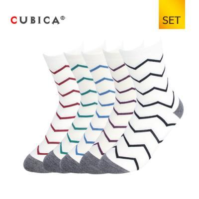[쿠비카]빗살무늬 배색 중목 여성양말 세트 CAS-SCS090 SET
