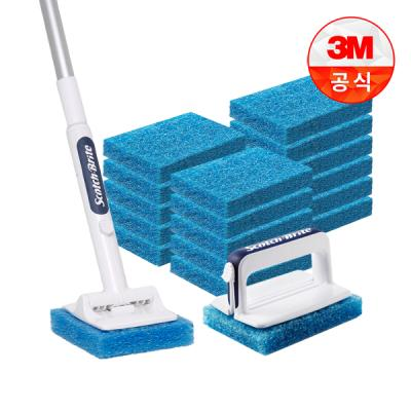 [3M]크린스틱 뉴올인원 욕실청소용 핸들+롱핸들+리필18입