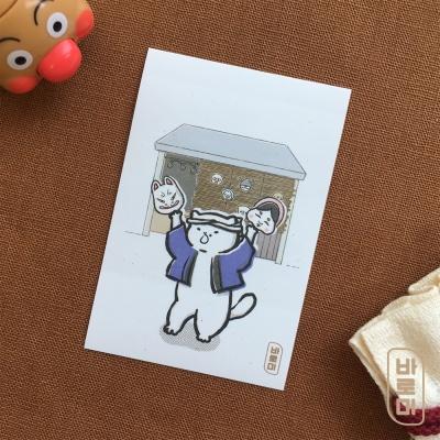 도로보우네코 가면 가게 고양이 사각 스티커