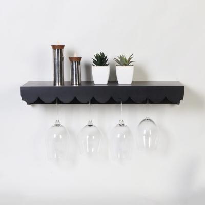 우드 데이지 와인잔걸이 벽선반600-블랙