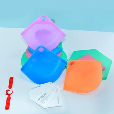 마스크 보관 실리콘 케이스 손걸이 휴대용 파우치