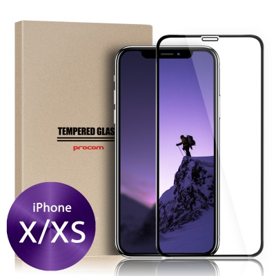 프로콤 아이폰X 3D 풀커버 케이스 강화 유리 보호 필름