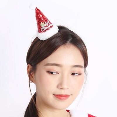 미니 산타고깔모자 머리띠