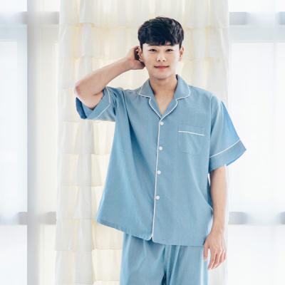 [쿠비카]심플한 블루 마린 슬립 홈웨어 남성잠옷 M050