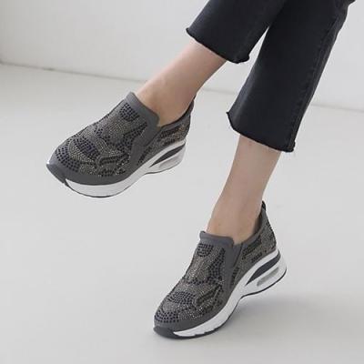 [애슬릿]투톤 큐빅 여성 에어 키높이 슬립온 운동화