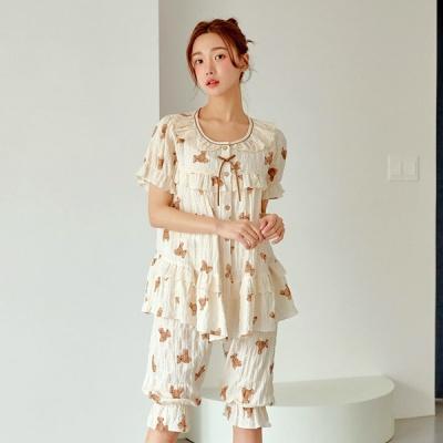[쿠비카]브라우니 프린팅 셔링 투피스 여성잠옷 W752