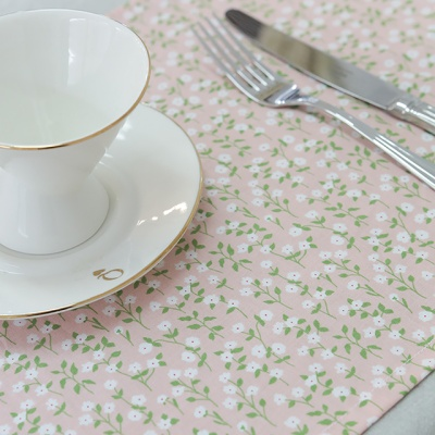 핑크 살구 꽃 면 키친크로스