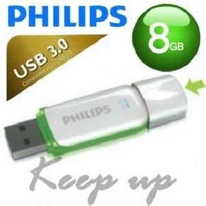 [PHILIPS] 필립스 USB메모리 / SNOW 8GB / 색상: 그린+화이트 / USB 3.0 / LED 점멸 / 초소형사이즈 /