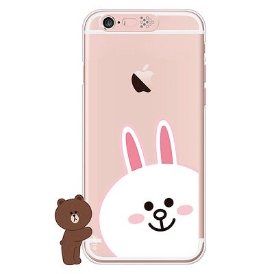[SG DESIGN]iPhone6/ iPhone6 Plus 라인프렌즈 코니 FACE LIGHT UP Case-Rose Gold(하드타입/라이팅)