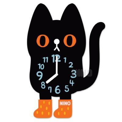 니노타임 아크릴 벽시계검은고양이 (소) NTMA-117