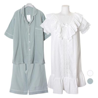 [쿠비카]폭닥 이중거즈면 롱 원피스 커플잠옷 WM257