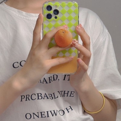 아이폰12 11 pro max xs 8 오렌지 그립톡 체크 케이스