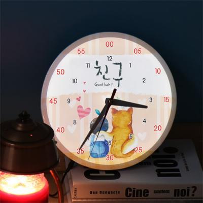 ng196-LED시계액자25R_아기와나우린친구
