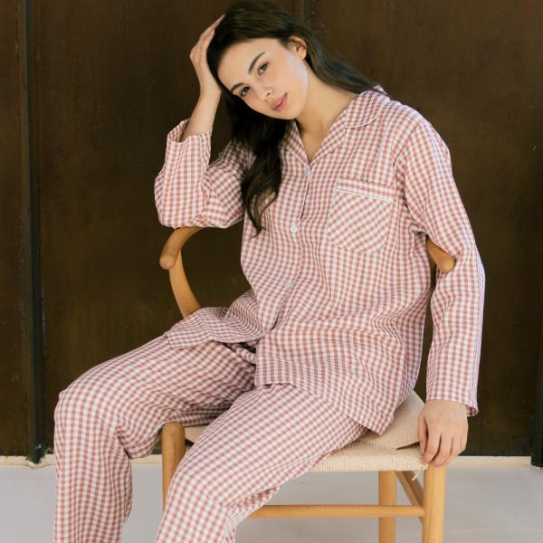 메리핀 심플 체크 여성 핑크 긴팔 잠옷세트