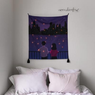 밤과 달빛 패브릭 포스터 / 가리개커튼