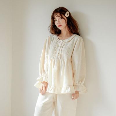 [쿠비카]프릴 라운드넥라인 투피스 여성잠옷 W512