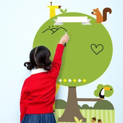 cj109-작은나무와동물들_칠판시트지_붙이는칠판스티커