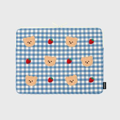 Dot strawberry check-blue-13inch notebook pouch