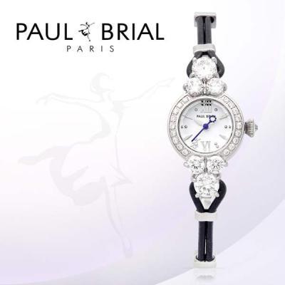 폴브리알(PAUL BRIAL) 여성시계 PB8001WTBK/가죽밴드