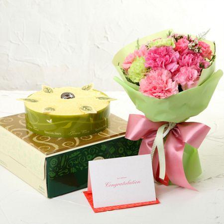 녹차케익+카네이션핑크(꽃배달,부모님선물,어버이날,스승의날,카네이션,효도선물,전국무료배송)