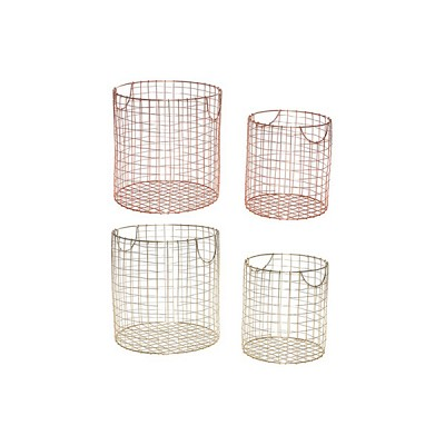 [Hubsch]Basket, round, metal s/2 바스켓