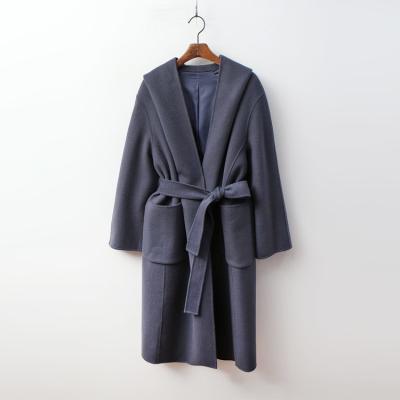Hood Wool Wrap Long Coat - 핸드메이드