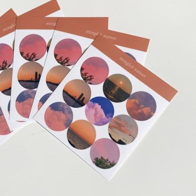 밍키트 선셋 원형 스티커