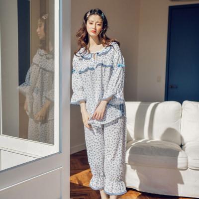 [쿠비카]7부 소매 라운드넥 리본 투피스 여성잠옷W434