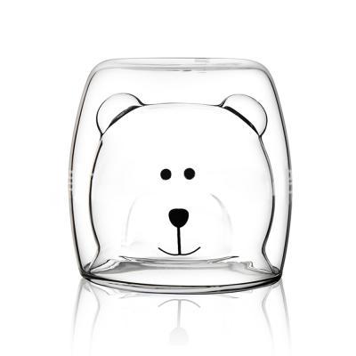 곰돌이 모양 투명 유리컵 1+1