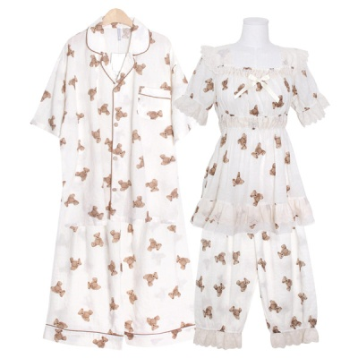 [쿠비카]곰돌이 프린팅 5부 투피스 커플잠옷 WM351