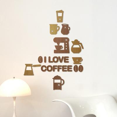 [우드스티커] 커피타임 (컬러완제품) - 입체우드 월데코 포인트 집꾸미기 벽장식