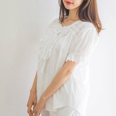 [쿠비카]줄기 레이스 순면 투피스 여성잠옷 W215