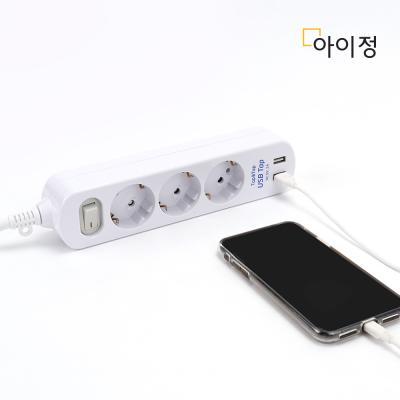 아이정 Tap&Tap 메인 절전형 USB 멀티탭 3구 2.5M