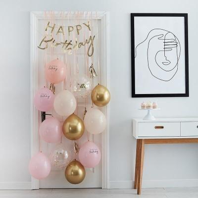[빛나파티]핑크풍선 12개와 생일축하 가랜드