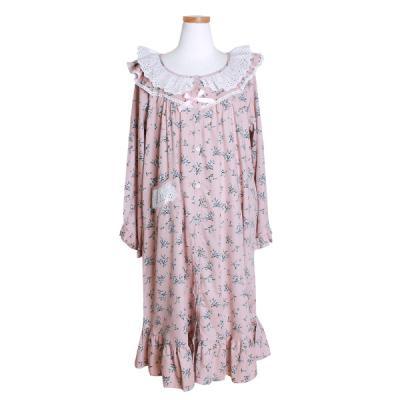 [쿠비카]순면 긴소매 라운드 원피스 여성잠옷 W402