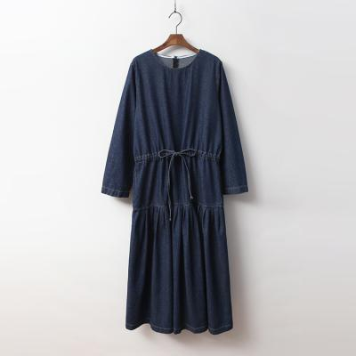 Dark Denim Tie Flare Long Dress