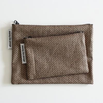코튼 헤링본 파우치-브라운