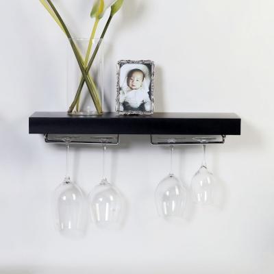 우드 플로팅 와인잔걸이 수평 벽선반600-3색상