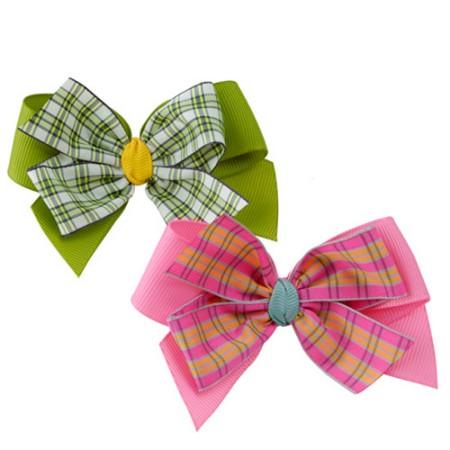 [헤어보우]체크 나비헤어핀_green,pink(HB10130)