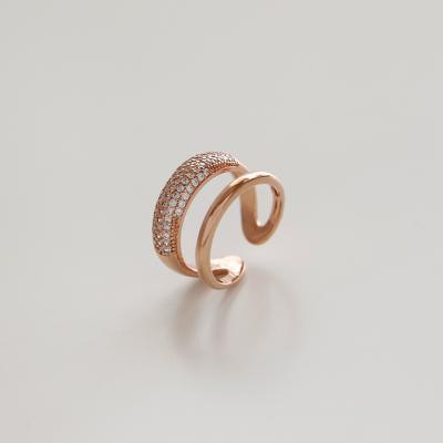 제이로렌 R0555 밀라노 로즈골드 두줄 큐빅 오픈 반지