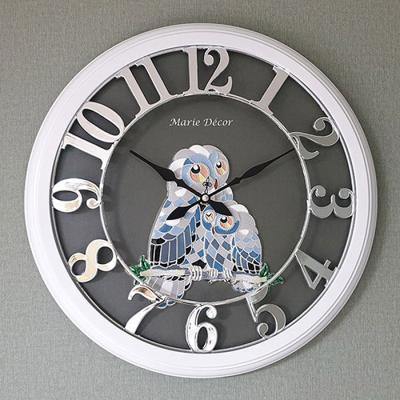 예쁜 인테리어 Wall Clock 넘버링 우드 부엉이 실버