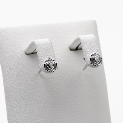 [애슬릿]925 은 실버 꽃 나비 큐빅 미니 귀걸이