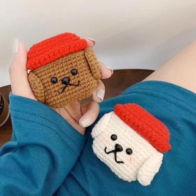 에어팟1/2 커플 강아지 캐릭터 뜨개 케이스_브라운349
