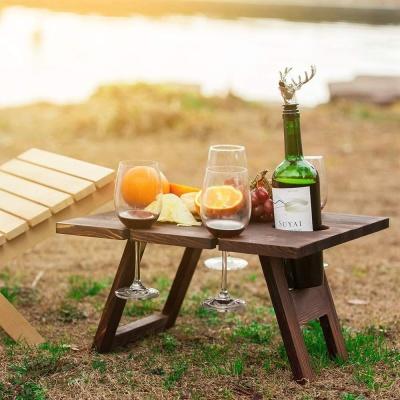 야외 캠핑 피크닉 우드 폴딩테이블 와인렉