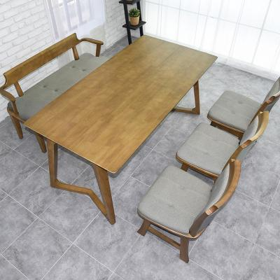 도밍 고무나무 원목 6인용 식탁세트 벤치형