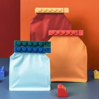 블록 음식물 주방 봉지 봉투 비닐 밀봉 집게 클립 4pc