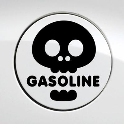 해골 가솔린 자동차 주유구스티커-블랙