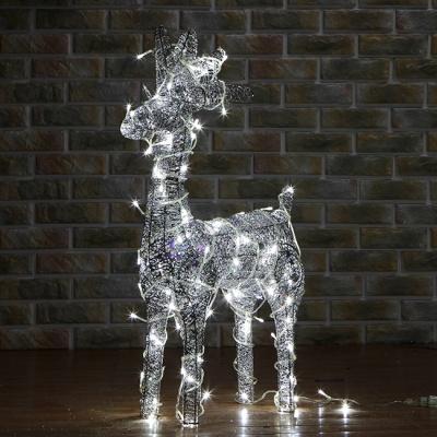 50cm 크리스마스 LED 실버 반짝이 사슴 장식 (소)